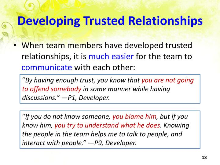 Developing Trusted Relationships