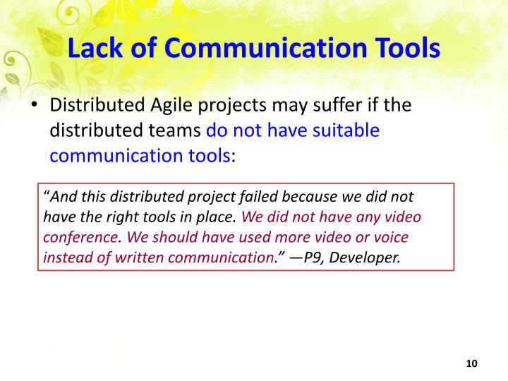 Lack of Communication Tools