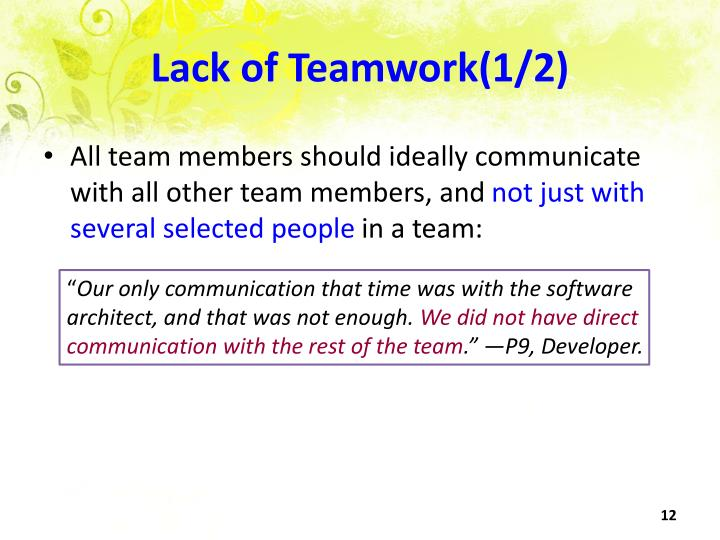 Lack of Teamwork(1/2)