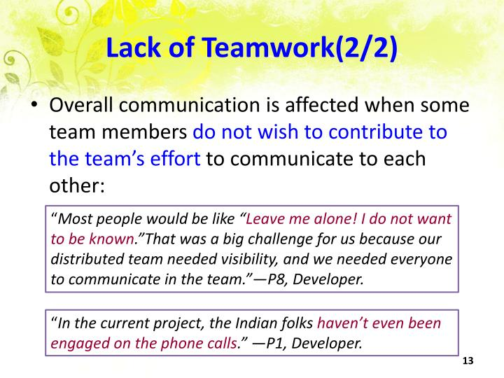 Lack of Teamwork(2/2)