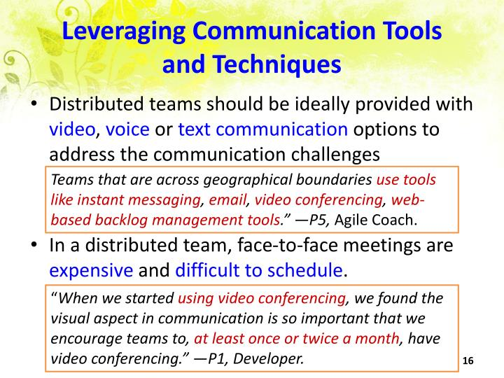 Leveraging Communication Tools