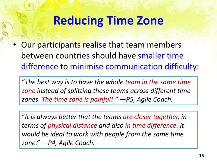 Reducing Time Zone