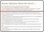 reader opinions about the novel