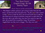 two stout doors chapter 8 pgs 99 106 destiny taylor