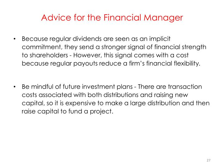 Advice for the Financial Manager