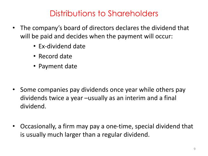 Distributions to Shareholders