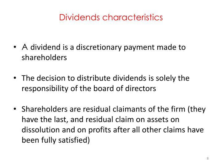 Dividends characteristics