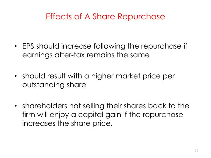 Effects of A Share Repurchase
