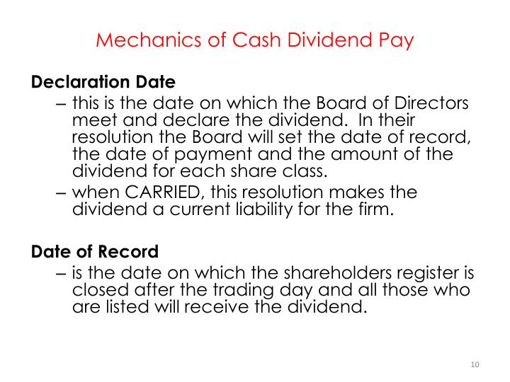 Mechanics of Cash Dividend Pay