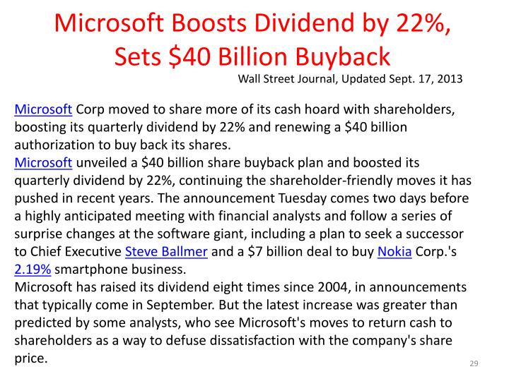 Microsoft Boosts Dividend by 22%, Sets $40 Billion Buyback