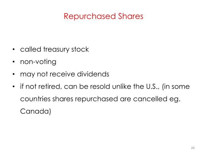 Repurchased Shares