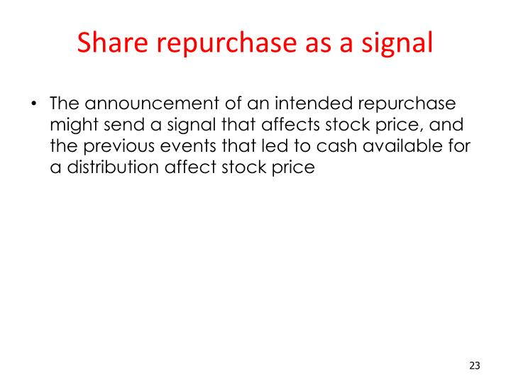 Share repurchase as a signal