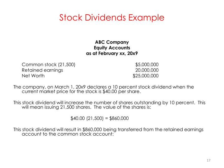 Stock Dividends Example