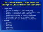 cdc evidence based target areas and settings for obesity prevention and control
