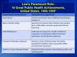law s paramount role 10 great public health achievements united states 1900 19991
