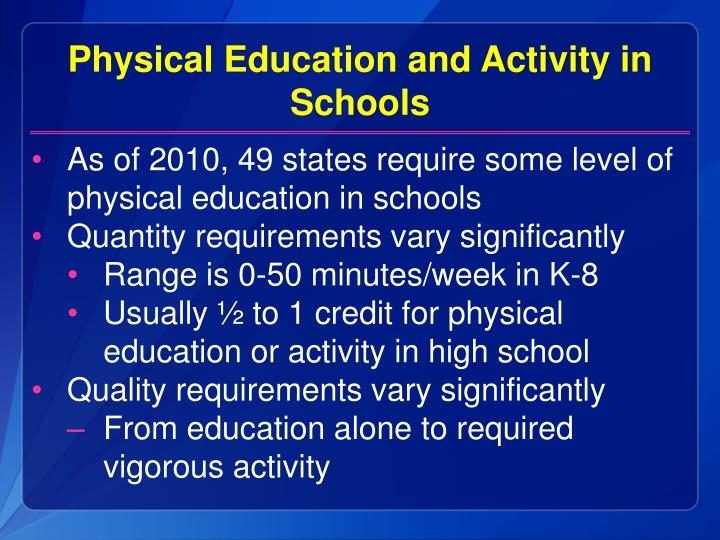 Physical Education and Activity in Schools
