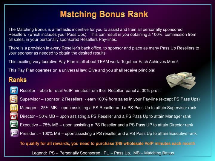 Matching Bonus Rank