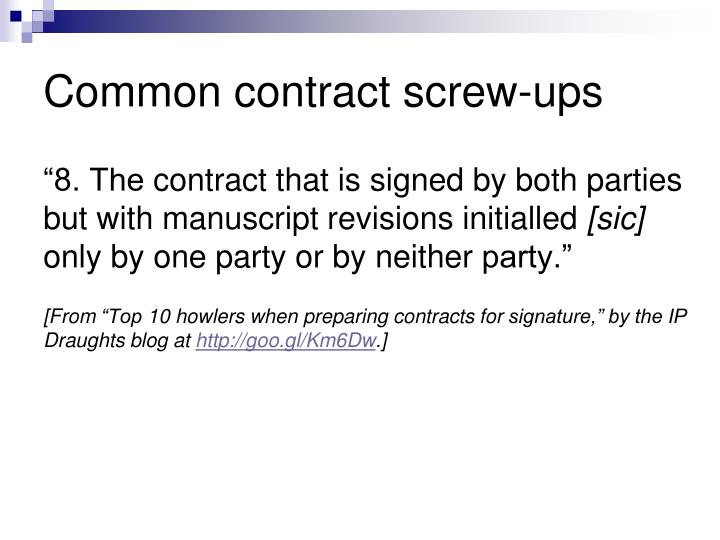 Common contract screw ups1