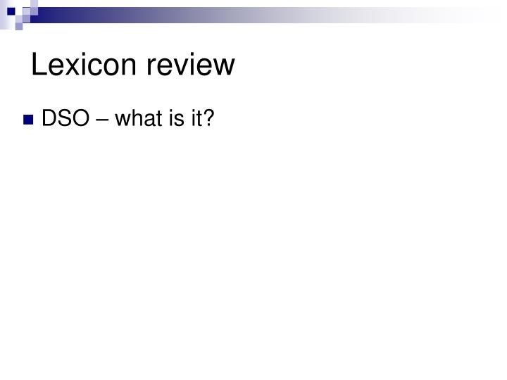 Lexicon review