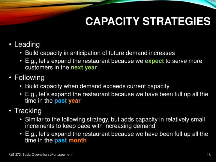 Capacity Strategies