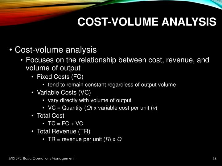 Cost-Volume Analysis
