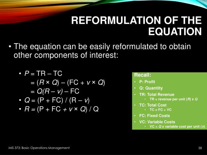 Reformulation of the equation