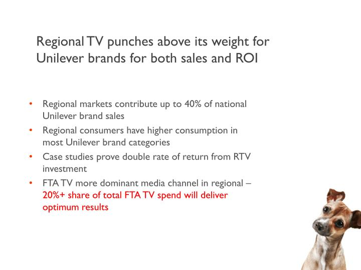 Regional TV punches above its weight for Unilever brands for both sales and ROI