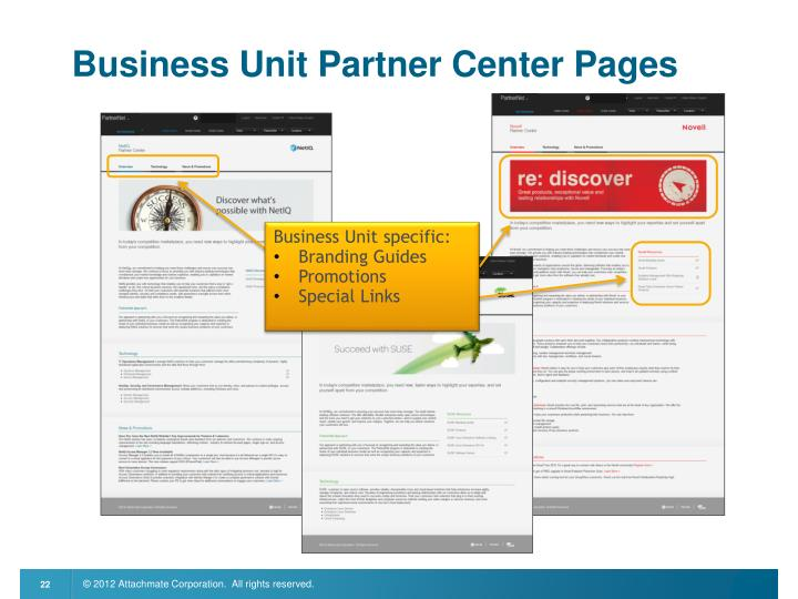 Business Unit Partner Center Pages