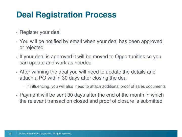 Deal Registration Process