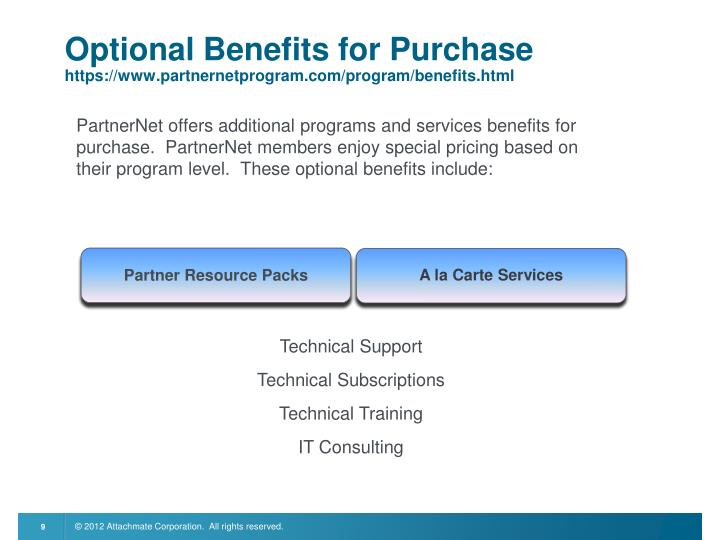 PartnerNet offers additional programs and services benefits for purchase.  PartnerNet members enjoy special pricing based on their program level.  These optional benefits include: