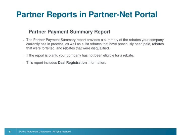 Partner Reports in Partner-Net Portal
