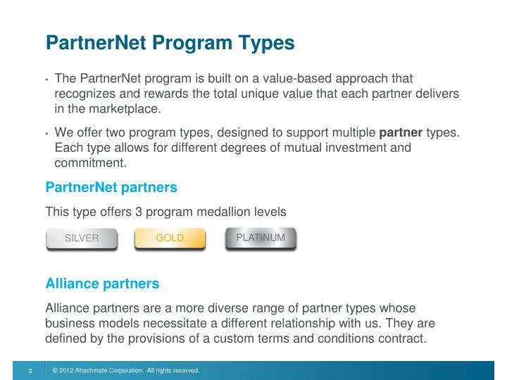 PartnerNet Program Types