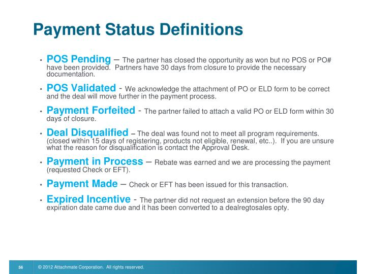 Payment Status Definitions