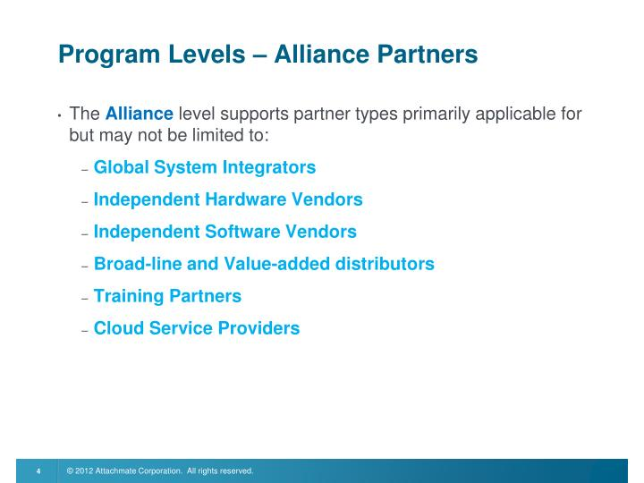 Program Levels – Alliance Partners