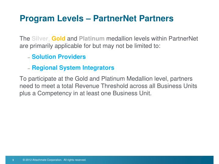 Program Levels – PartnerNet Partners