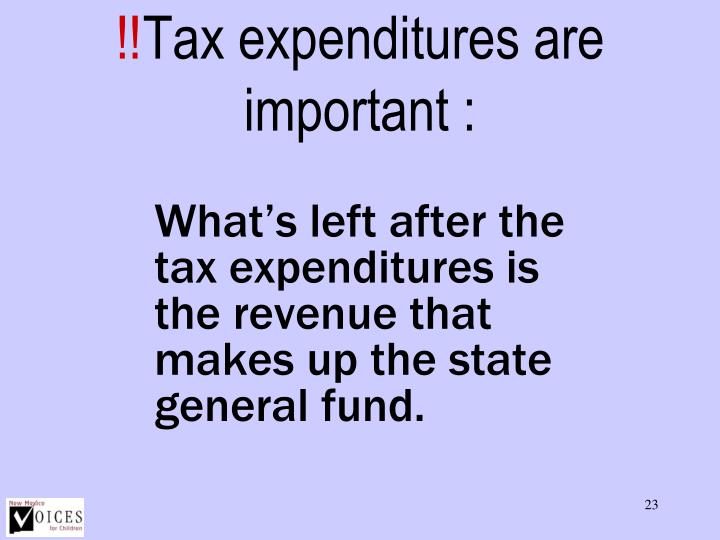 Tax expenditures are important :