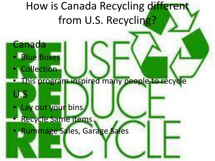 How is Canada Recycling different from U.S. Recycling?