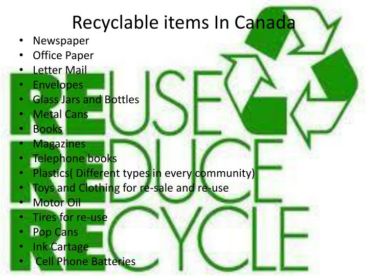Recyclable items In Canada