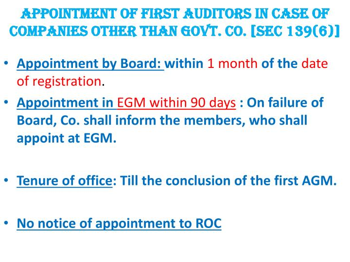 APPOINTMENT OF FIRST AUDITORS IN CASE OF COMPANIES OTHER THAN GOVT. CO. [SEC 139(6)]