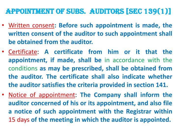 APPOINTMENT OF subs.  AUDITORS [SEC 139(1)]