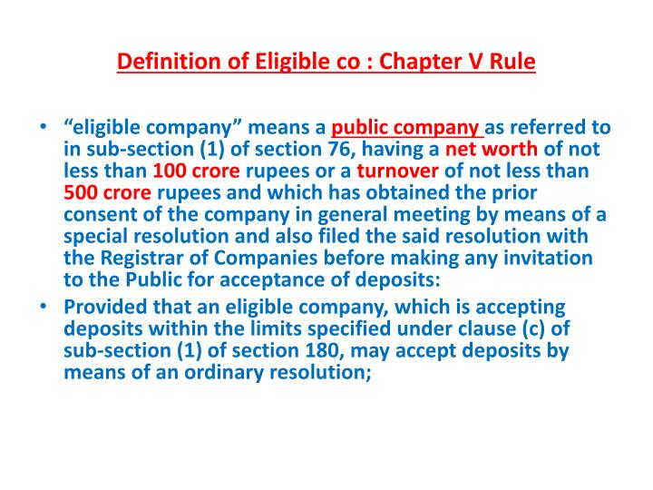 Definition of Eligible co : Chapter V Rule