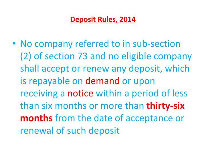 Deposit Rules, 2014