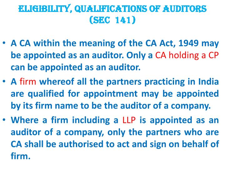 Eligibility, Qualifications of Auditors