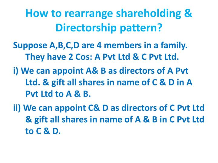 How to rearrange shareholding & Directorship pattern?