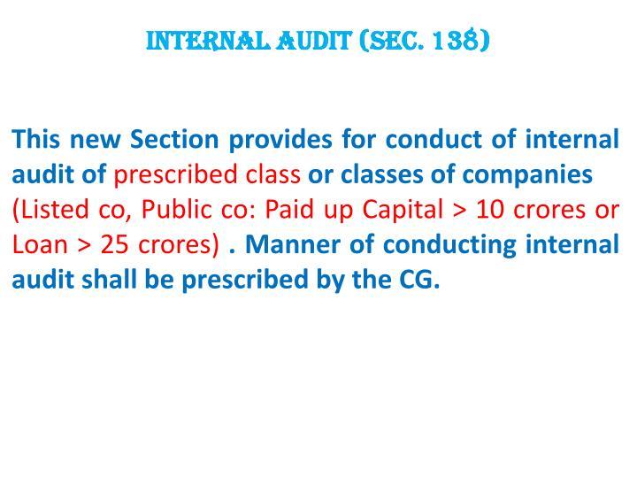 Internal Audit (Sec. 138)