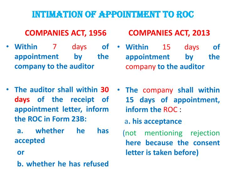 INTIMATION OF APPOINTMENT to roc