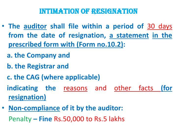 INTIMATION OF RESIGNATION