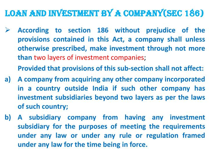 LOAN AND INVESTMENT BY A COMPANY(sec 186)