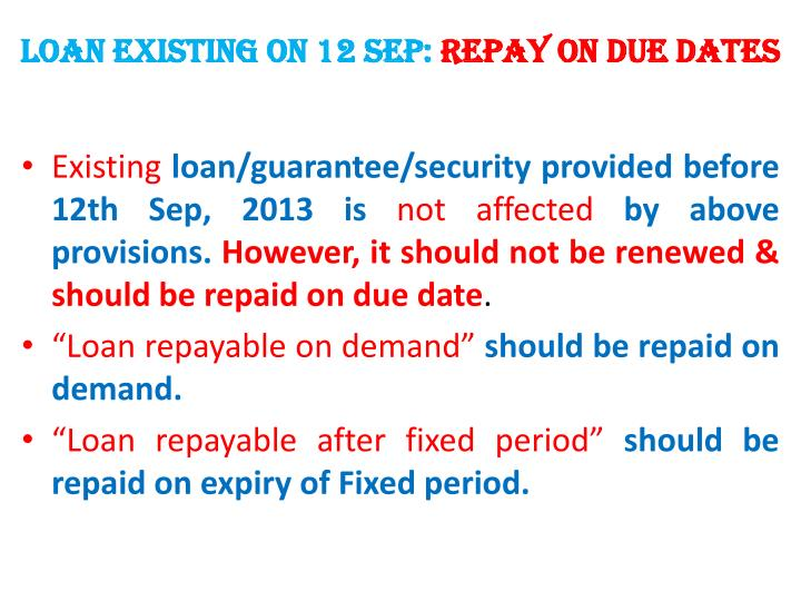 LOAN existing on 12 sep: