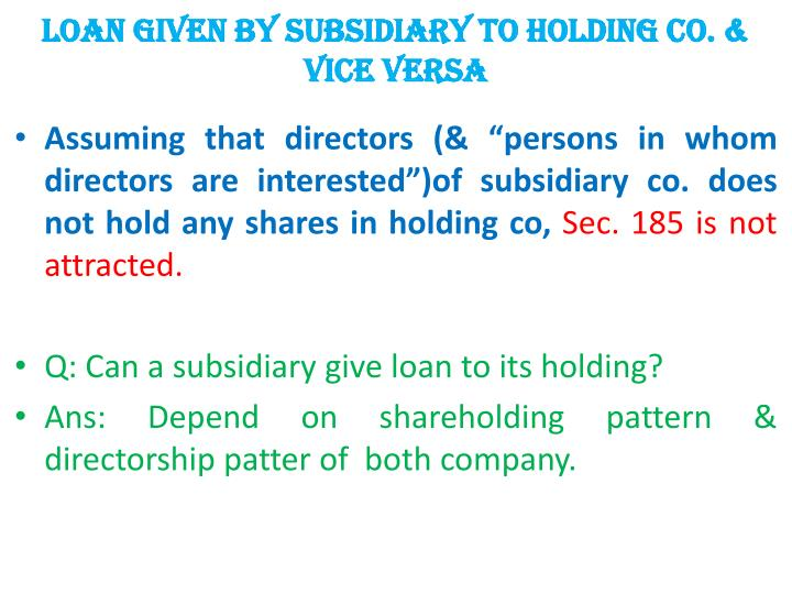 LOAN given by subsidiary to holding co. & Vice versa